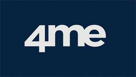 Logo of the 4me company. Light grey fonts on midnight dark blue background.