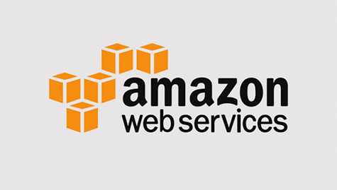 Logo of Amazon Web Services. 5 orange cubes on the left and black fonts on light grey background.