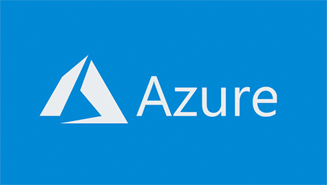 Logo of Microsoft Azure. Grey pyramid on the left and grey fonts on bright blue background.