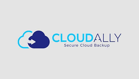 Logo of Cloud Ally backup. Light and dark blue clouds on the left and blue fonts on grey background.