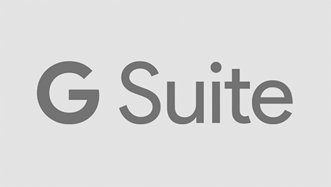 Logo of Google Suite. Dark grey fonts on light grey background.