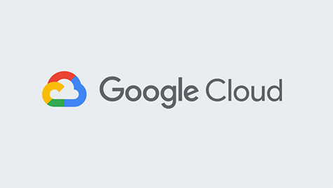 Logo of Google Cloud. Colourful cloud on the left and dark grey fonts on light grey background.