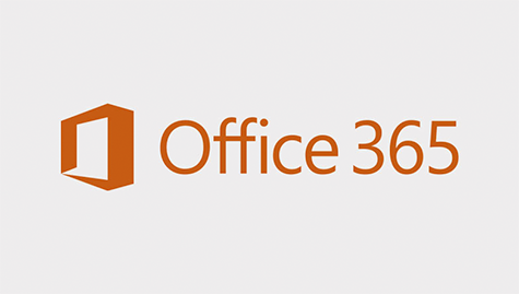 Logo of Office 365. Dark orange perspective cube on the left & dark orange fonts on light background.