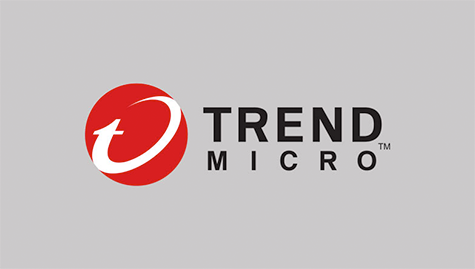 Logo of Trend Micro. Red circle with round T on the left & dark grey fonts on light grey background.